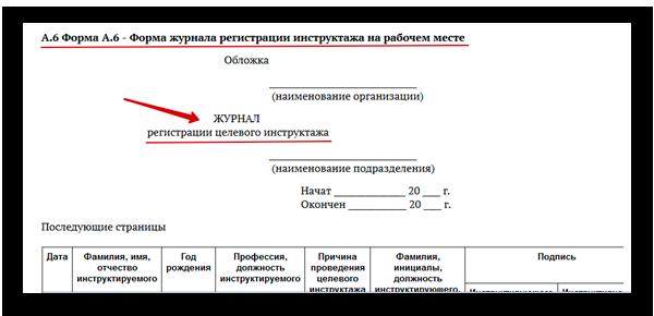 Форма регистрации инструктажа на рабочем месте