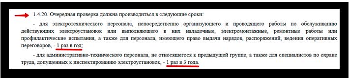 п. 1.4.20 Правил технической эксплуатации электроустановок потребителей, утв. приказом Минэнерго от 13.01.2003 № 6