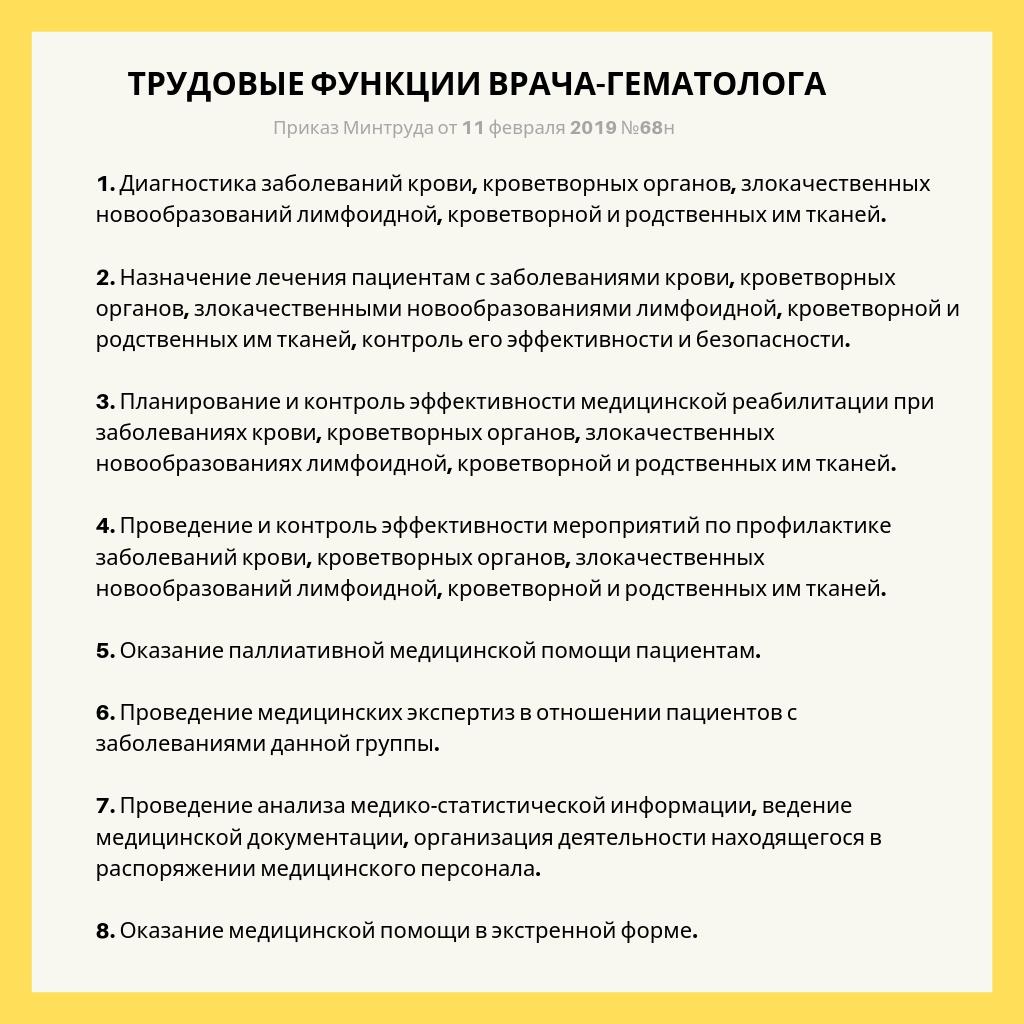 8 основных трудовых функций врача-гематолога
