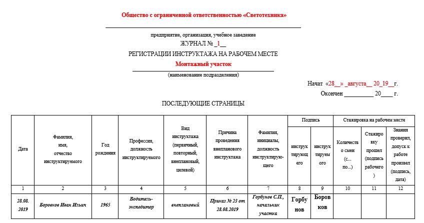 Образец заполнения журнала регистрации инструктажа на рабочем месте